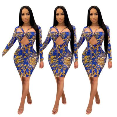 Good Quality New Design Fashion Casual Autumn Dress Sexy Digital Print Hollow out Ladies Dress Women Clothing