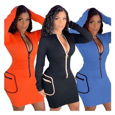 Wholesale Fashion Zipper V Neck Sexy Stretchy Women Clothing Ladies Clothes Casual Dress Women Dresses