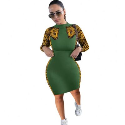 Design Fashion Leopard Stretchy Long Sleeve Ladies Clothing New Womens Clothes Casual Dress Women Dresses