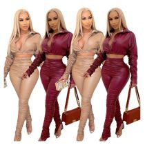 Hot Onsale Good Quality Fashion Sexy PU Leather Top And Stracked Pants Two Piece Set Women Clothing 2 Piece Set Women