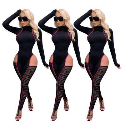Hot Selling 2020 Solid Color Women Fashion Clothes Long Sleeve Mesh Decoration One Piece Jumpsuit Lady Rompers