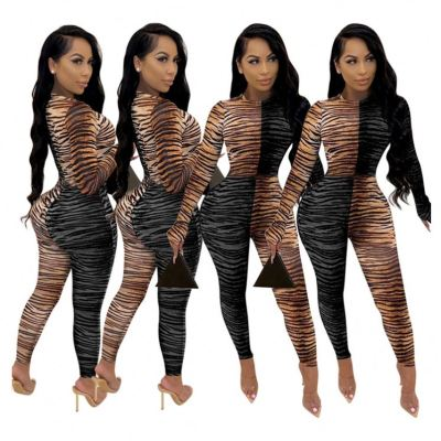 Lowest Price Contrast Color Tiger Print Sexy Long Sleeve Women Clothing Fashion Lady Romper Womens One Piece Jumpsuits
