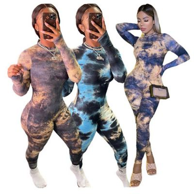 Wholesale Price Fashion Clothing For Women 2020 Long Sleeve One Piece Jumpsuit Bodycon Jumpsuits Tie-Dyed Jump Suits