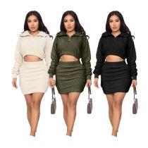 0110901 Hot Sale Womens Winter Clothing 2020 Ladies Hooded Dress Set Women Skirt Sets