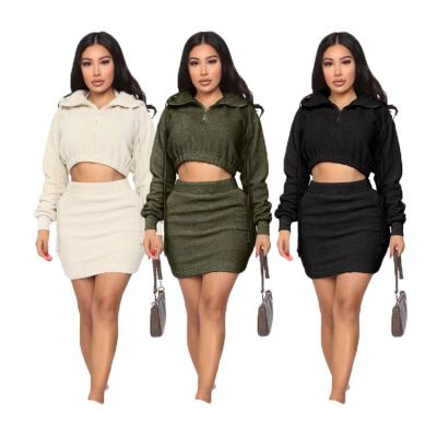 0110901 Hot Sale Womens Winter Clothing 2020 Ladies Hooded Dress Set Women Skirt Sets