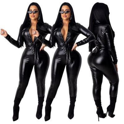 High Quality Top Fashionable Black PU Material Women Clothing Leather One Piece Jumpsuit Women Rompers Bodycon Jumpsuits