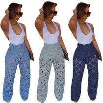 0110915 Hot Onsale Women Fashion Clothing Ripped Jeans Women Wide Leg Pants