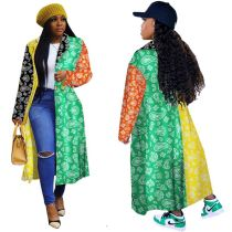 Newest Design Plus Size Winter Women Clothing Joint Color Multi Print Long Sleeve Womens Coat Lady Long Jackets