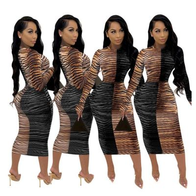 Good Design Wholesale Leopard Long Sleeve Autumn Clothes Womens clothing Women Dress Casual Long Maxi Dresses