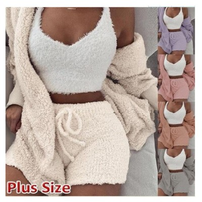 Good Quality Autumn Solid Wool Cardigan Tank Top Short Plus Size Three Piece Set Women Clothing 2020 3 Piece Outfit Set Clothing