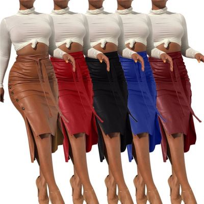 New Style Side Slit Belt Elegant Ladies Clothes Fashion Womens Winter Clothing Skirts Women Leather Skirt