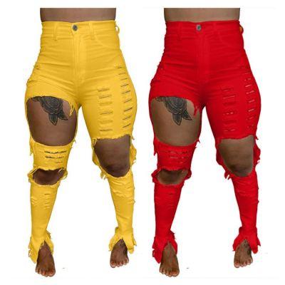 Wholesale Latest Design Fashion Casual Solid Color Hole Jeans Pants Ladies High Waist Jeans Pants Trousers