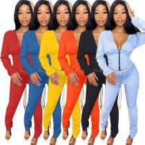 High Quality Womens Winter Clothing 2020 Fashion Sexy Solid Color Hooied Two Piece Set Women Clothing