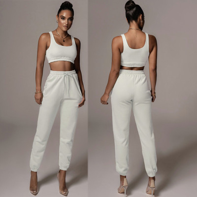 Hot Selling Solid Color Tank Top Casual Winter Two Piece Set Women Clothing 2020 Pant Set Women 2 Piece Outfit Set Clothing