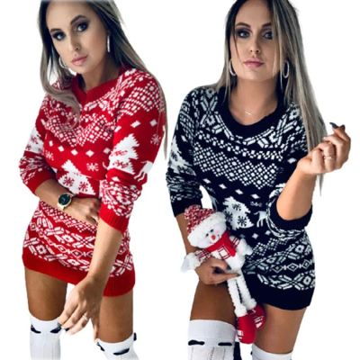 Hot Onsale Long Sleeves Womens Clothing 2020 Christmas Winter Short Dresses Woman Sweater Casual Dress