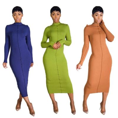 Hot Selling Fall And Winter 2020 Women Fashion Clothing Solid Color Long Sleeve Maxi Dress Women Casual Long Dresses