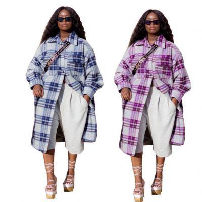 New Trendy Long Sleeve Plaid Print Long Cardigan Women Jackets And Coat Lady Casual Jacket Women Coats