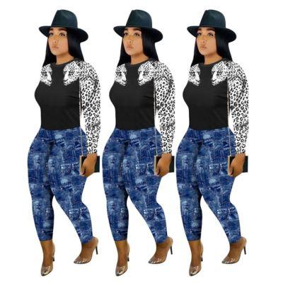 Latest Design Fashionable Tiger Print 2 Piece Set Women Top And Pants Two Piece Set Women Clothing Sets