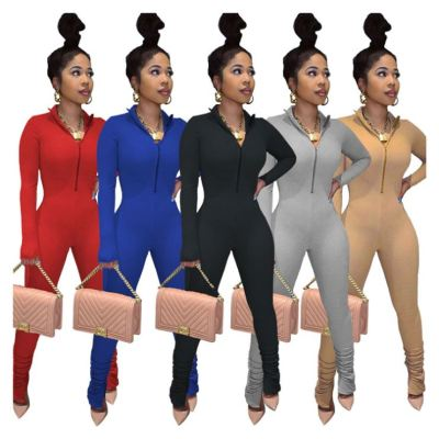Lowest Price Fall Solid Color V Neck Zipper Women Clothing One Piece Jumpsuits Lady Jumpsuits Women Rompers
