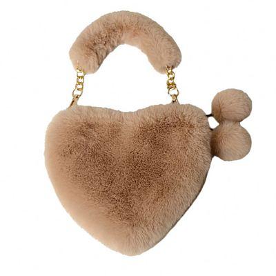 2020 Fashion Cute Factory Wholesale Fashion Furry Love Handbag Chain Peach Heart Bag