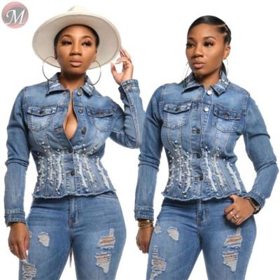 9112928 newest design pearl beading slimming casual jean coat Jacket Women Tops And Blouses