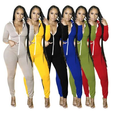 Good Style Solid Color Zipper Stretchy Fashion Clothing New Jumpsuit Women One Piece Romper Jump Suit