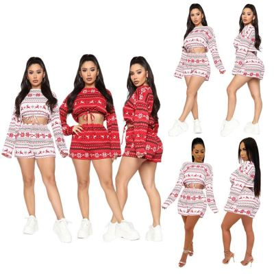 New Arrival Winter Sets Womens Clothing 2020 Christmas Women Suit Short Top And Skirt Set Two Piece Short Set