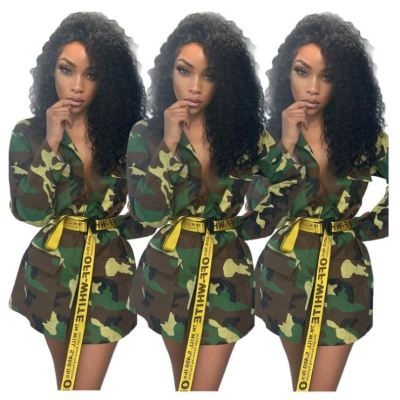 Wholesale Womens Boutique Clothing Newest Design Camouflage Coat Women Top Blouse Tops Long Jacket