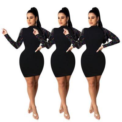 Best Design 2020 Top Fashion Trend Solid Color Sequin Long Sleeves Dresses Women Lady Elegant Casual Dresses