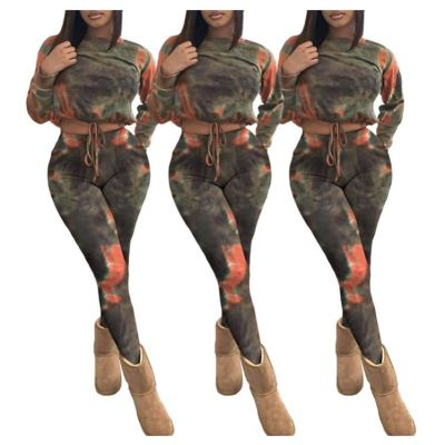 Women Fashion Clothing Hot Sale Tie-Dyed 2 Piece Set Women Long Sleeve Two Piece Set Women Clothing