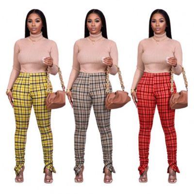 Wholesale Newest Design Casual Fall Fashion Women Clothing 2020 Plaid Women Bottoms Pants Lady Trousers Pants