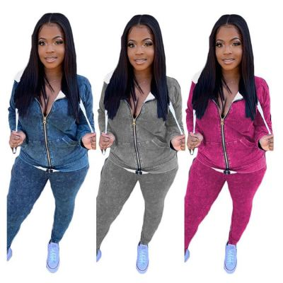 Wholesale Solid Color Casual Zipper Good Material Lady Top And Pants Two Piece Jogger Set 2 Piece Long Sleeve Set