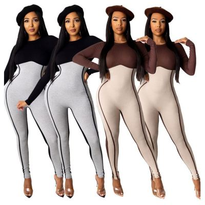 Hot Selling Contrast Color 2020 Fashion Women Clothing Lady Jumpsuits Women Romper Bodycon Jumpsuits