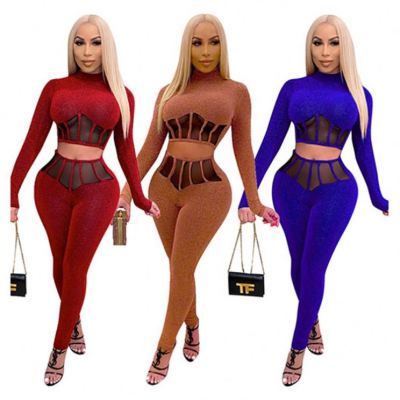 Best Seller Solid Color Long Sleeves Crop Top Womens Winter Set Two Piece Set Clothing Lady Top And Pants