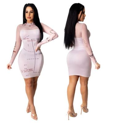 Good Style Bodycon Mesh Long Sleeves New Popular Clothes Womens Clothing Casual Dresses Women Lady Dress