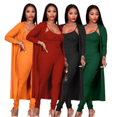 Hot Sell 2020 Fall And Winter Women Fashion Clothing Sexy Suit Jumpsuit And Coat Women Two Piece Sets