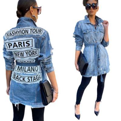Best Design Women Fashion Clothing 2020 Long Sleeve Casual Outwear Coat Women Jeans Jacket Long Denim Jacket