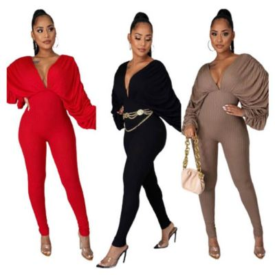 Good Price Solid Color V Neck Knit Sexy Clothing 2020 One Piece Jumpsuits Woman Jump Suits Women Jumpsuit
