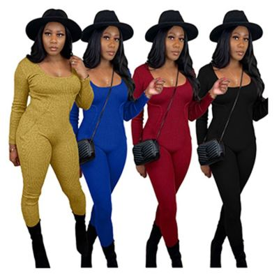 New Arrivals 2020 Solid Color Sweater Long Sleeves Women One Piece Jumpsuits Lady Romper Bodycon Jumpsuit