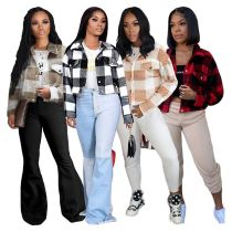 New Style 2020 Top Fashionable Women Clothing Long Sleeves Thick Material Women Jackets And Coats Lady Plaid Shirt