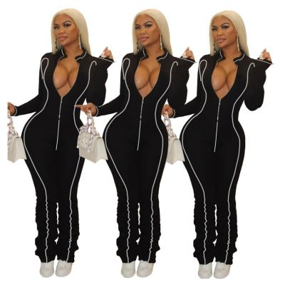 Best Price Wholesale Fashion Casual Autumn Woman Jumpsuit 2020 Sexy Stracked Pants One Piece Jumpsuits