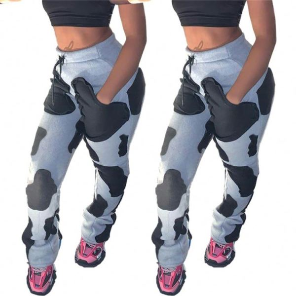 High Quality New Fashion Dairy Cattle Printed High Waisted Women Bottom Pants Ladys Trousers Casual Pants
