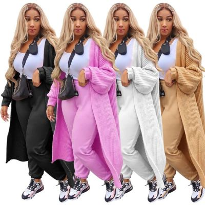 Newest Design Solid Color Girls Clothes Cardigan Long Sweater Coat Womens Coats 2020 Winter Women Clothing