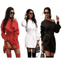 Latest Design New Style Fashion Casual Dress Winter Long Sleeve Dirdling Solid Color Ladies Top Women Dress