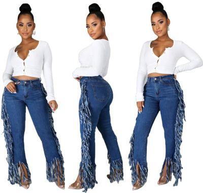 Latest Design New Trendency Fashion Winter Women Pants Casua Fringed Edge Jeans Women Denim Bottoms Trousers