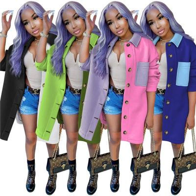Good Design Popular Contrast Color Splice Lady Thick Winter Women Clothing 2020 Womens Jacket And Coats