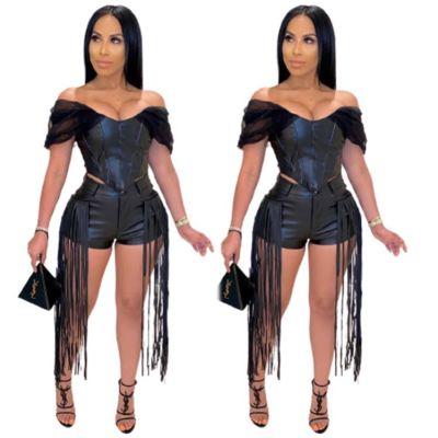 0111801 Best Seller Women Fashion Clothing 2020 Tassel Womens Two Piece Short Set