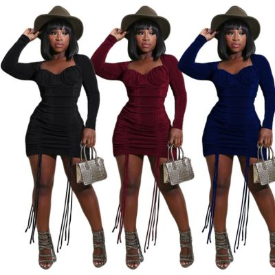 Newest Design 2020 Winter Tendency Women Clothing Fashion Square Collar Dresses Women Lady Elegant Casual Dress