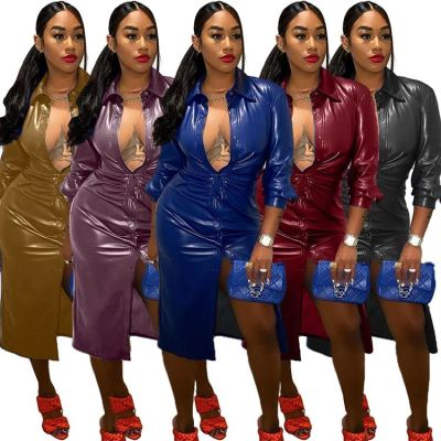 New Style Wholesale Fall Clothing For Women Solid Color Long Sleeves Women Casual Dress Bodycon Leather Dresses