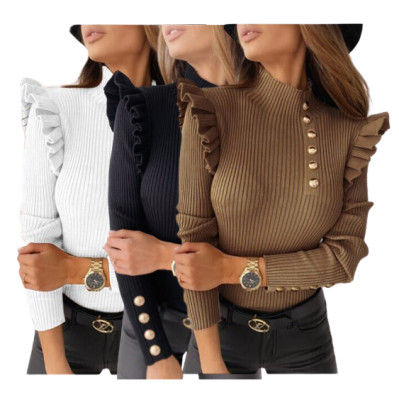 Good Quality Solid Color Popular Elegant Ladies Clothing Wholesale Sweater Women Tops 2020 Womens Blouse